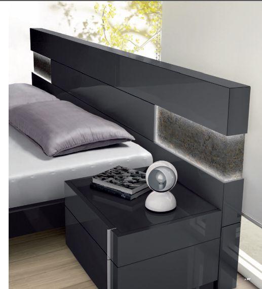 Mobiliario de dormitorio cabecero en laca color ceniza for Mobiliario dormitorio