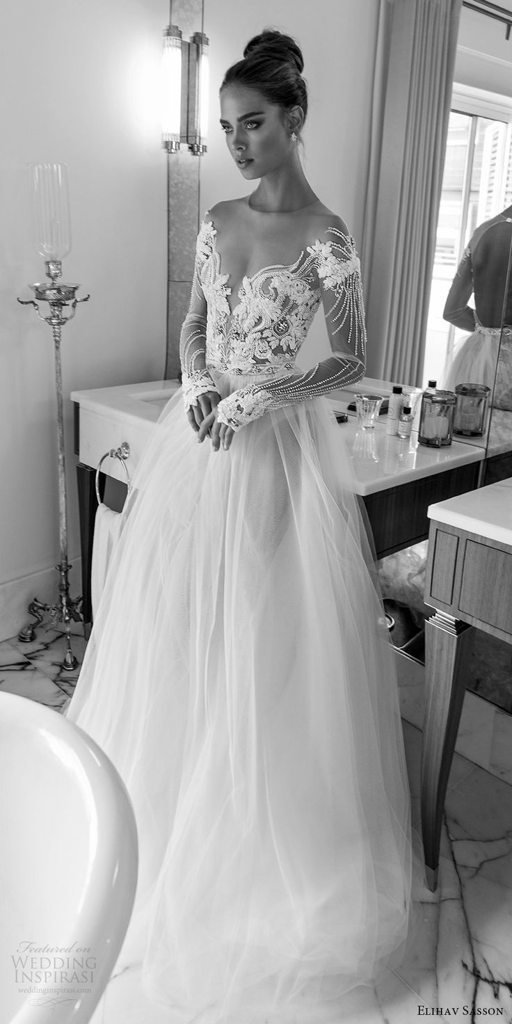 elihav sasson spring 2018 bridal illusion jewel off shoulder neckline sheer long sleeves beaded bodice ball gown wedding dress (vj 004) mv sexy romantic -- Elihav Sasson 2018 Wedding Dresses