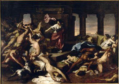 Xavier Sigalon (1788-1837) : Athalie. Grande composition, violents mouvements de foule, scène de massacre. Superbes nus masculins au centre et à droite. Le sujet renvoie au texte de la Bible qui rapporte comment Athalie, reine de Juda, fit massacrer tous les princes de Juda, pour régner seule après la mort de son fils.