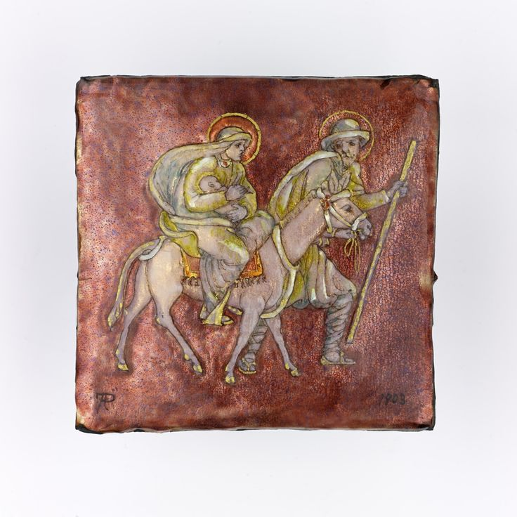 Unmounted square plaquette of copper, enamels and foil, decorated with 'The Flight into Egypt', from a dismembered casket: Scottish, Edinburgh, by Phoebe Traquair, signed and dated 1903