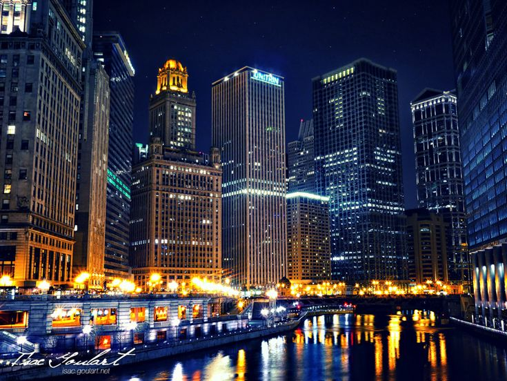 Chicago at night.: Beautiful Cities, Night Travel, Downtown Chicago, Chicago Rivers, Art Prints, Isacgoulart Deviantart Com, Travel Posters, Chicago Night, Cities Lights