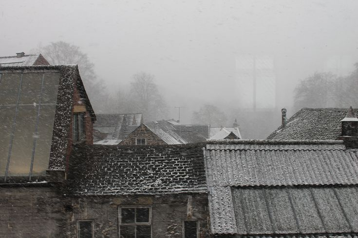 View from the John Smedley Lea Mill on a snowy March day.