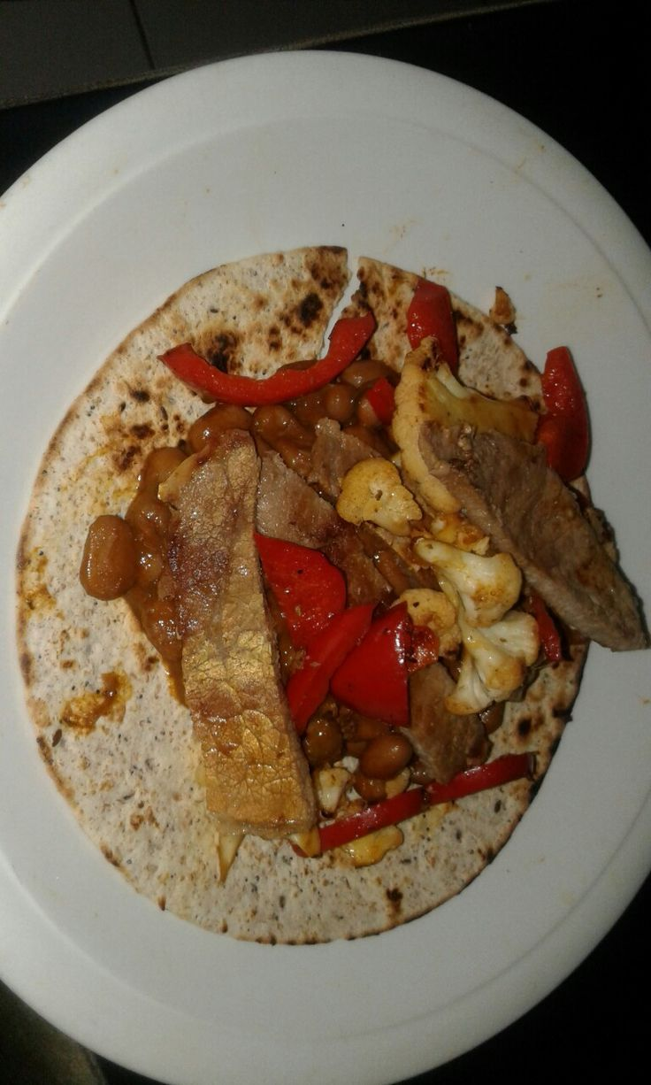 Beef spiced on whole grain tortilla