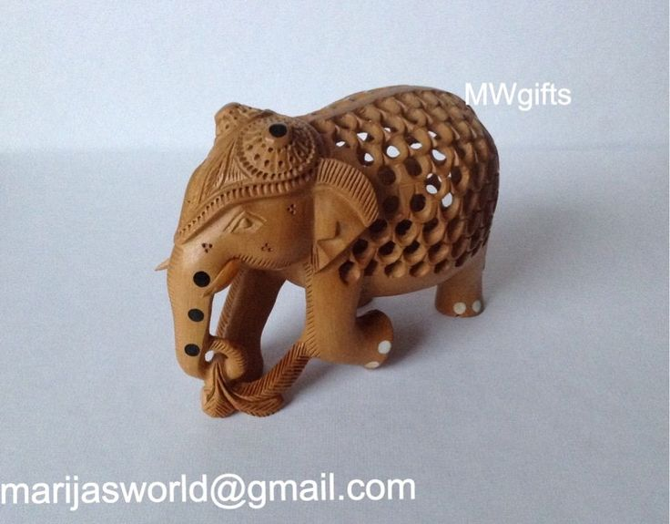 Small Detailed Wooden Carved Indian Elephant Ornament Figurine - Hand Made
