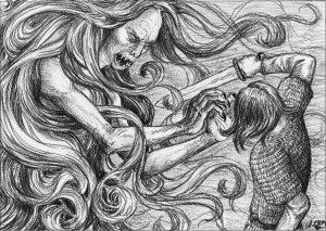 """""""Grendel, de forma gigantesca y humana, penetra durante las noches oscuras en la sala del rey para matar y devorar a los guerreros. Grendel es de la raza de Caín. Por obra de un encantamiento, es invulnerable a las armas. Beowulf promete darle muerte y lo espera, desarmado y desnudo, en la oscuridad..."""" en, Antiguas literaturas germánicas. Jorge Luis Borges."""