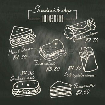 チョーク ボードの背景上に描画サンドイッチ落書きメニュー photo