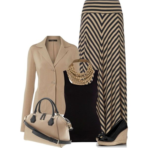 A fashion look from March 2013 featuring black velvet top, jersey knit blazer and striped skirt. Browse and shop related looks.