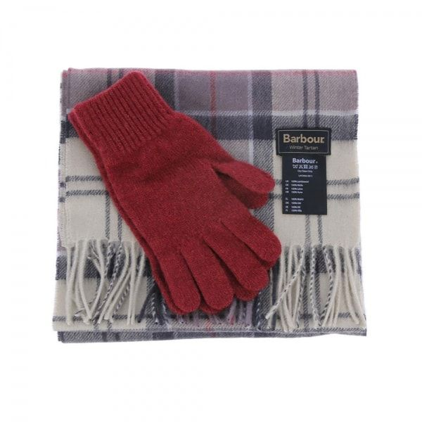 Barbour Scarf and Glove Gift Set Neutral Tartan