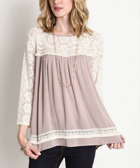 JDF Designs Latte Lace Baby Doll Top   zulily