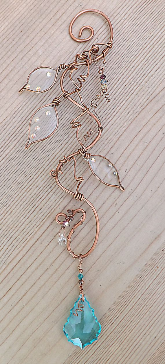 Crystal Suncatcher Copper Wire Swarovski by ContoursAlbion on Etsy