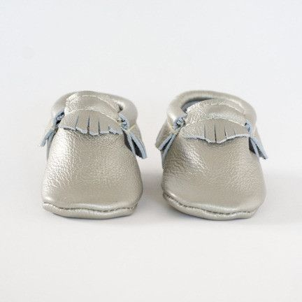 Silver - Limited Editions Moccasin by Freshly Picked #babymoccs #freshlypicked #moccasins