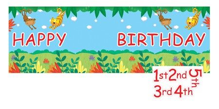 Jungle Buddies Giant Party Banner with Stickers.  This cute party banner is great for decorating doors and walls, keeping the zoo or jungle themed party atmosphere festive.  Customise your banner! Stickers are included for ages 1 - 5.  Banner: 152.4cm x 50.8cm