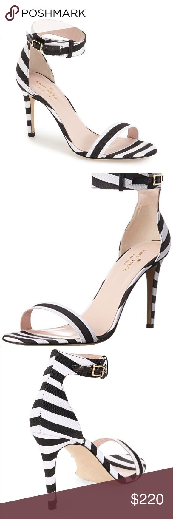 "NEW Kate Spade NY ♠️ Isa Striped Heel Sandals Stunning heels in classic bold Kate Spade stripes. Wonderful sleek and secure fit, thanks to the ankle buckle. Brand new! Originally purchased from Lord & Taylor, super popular style and long sold out - impossible to find anywhere!  ♠️Dressed up sandal with high-contrast stripes ♠️Self-covered heel, 3"" ♠️Textile upper ♠️Leather lining and sole ♠️Made in Italy kate spade Shoes Heels"