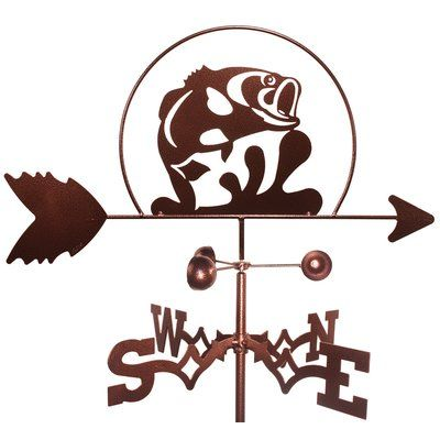 SWENProducts Fish Jumping Large Mouth Bass Weathervane with Roof Mount