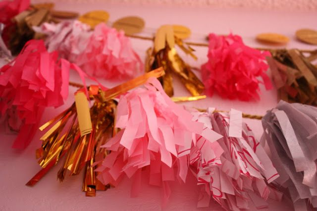 gold and pink poms