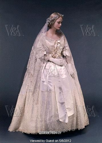 1865 Honiton lace & satin wedding dress, England