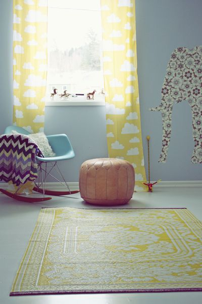 Inside ideas- Yellow cloud curtains, patterns, and poufs