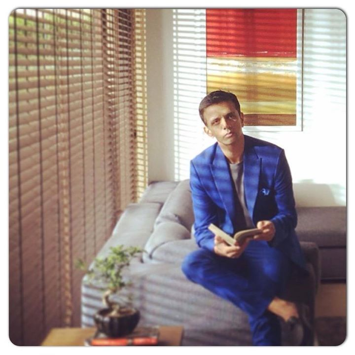Rahul Dravid in our cobalt blue suit