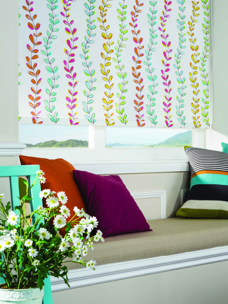 Clover & Thorne Rainbow Leaves Roller Blind #cloverandthorne #homedecor #rainbow #leaves #rollerblind