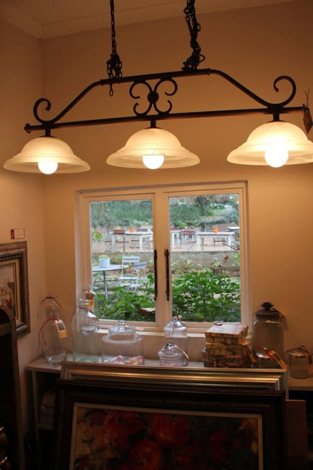 La Cucina with 3 glass shades.. Country chic at it's best!