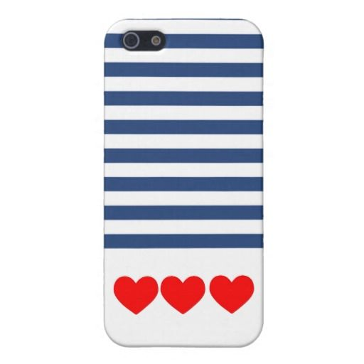 Matte Nautical Stripes and Hearts iPhone Case iPhone 5/5S Covers