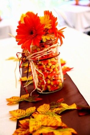 fallIdeas, Fall Decor, Candy Corn, Candies Corn, Candycorn, Mason Jars, Wedding Centerpieces, Fall Wedding, Center Piece