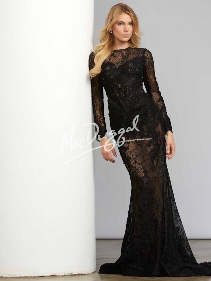 Black lace long sleeve formal dress