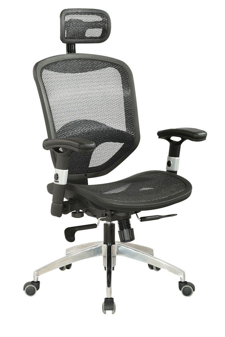 Mesh Seat Back W Headrest Multi Adj Office Chair