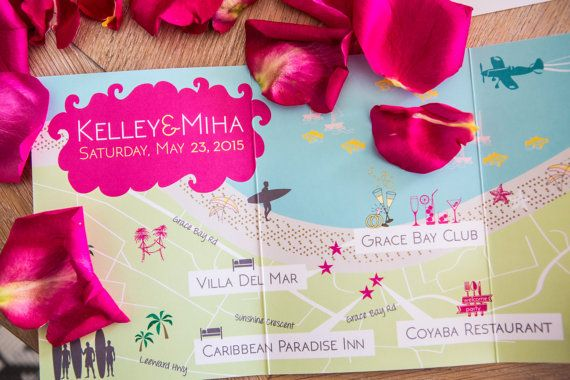 Turks and Caicos Wedding Map welcome note & Itinerary by cwdesigns2010 on Etsy