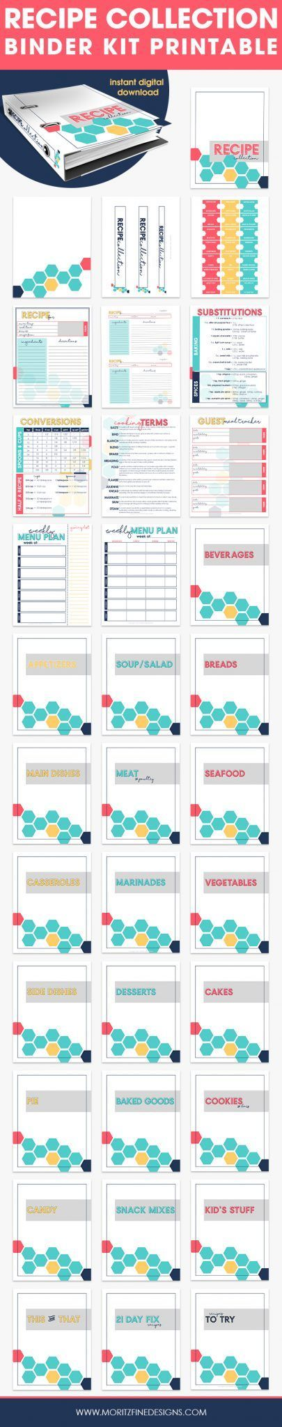 DIY Customizable Recipe Cookbook | Recipe Binder Printable | organize recipes | instant download via @moritzdesigns