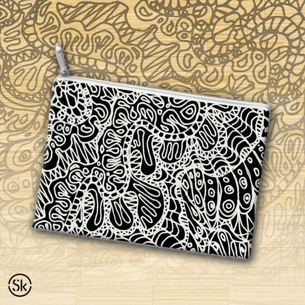 SOLD Accessory Pouch Doodle Style G361 http://skreened.com/medusa81/accessory-pouch-doodle-style-g361 #Skreened #Accessory #Pouch #Doodle #blackandwhite #drawing #abstract #Style