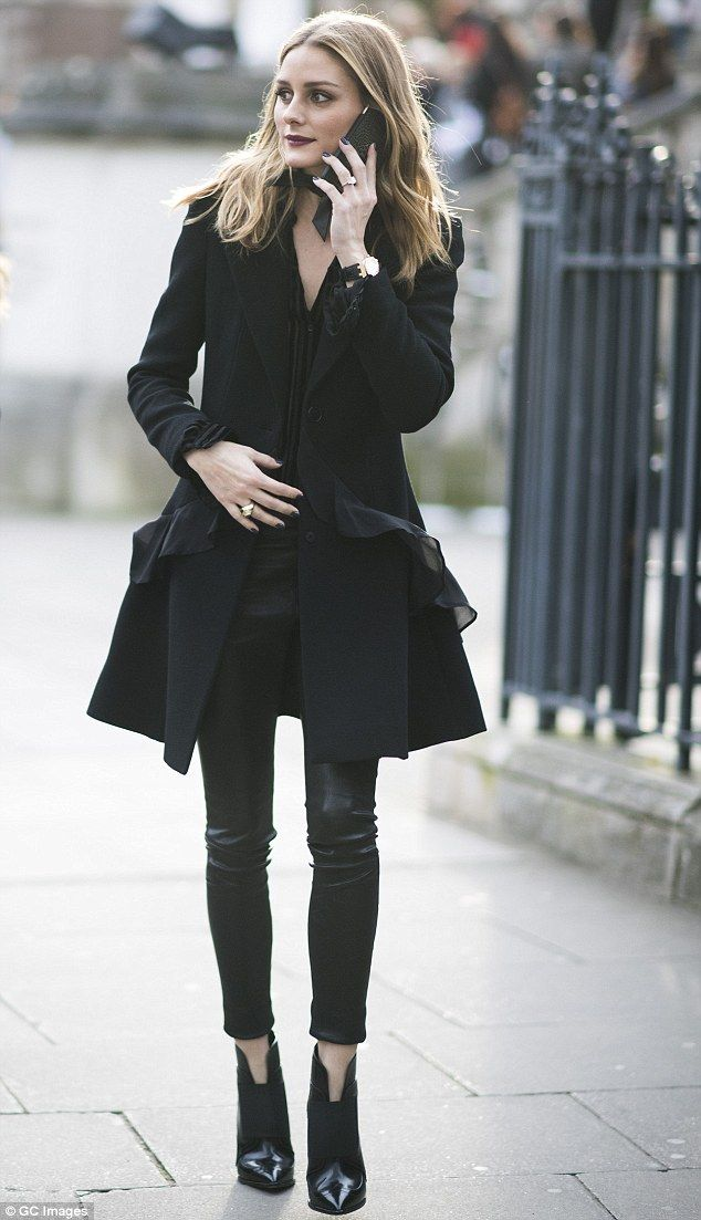 Model material: The beauty added a pair of pointed black ankle boots with a stiletto heel to lengthen her already leggy frame