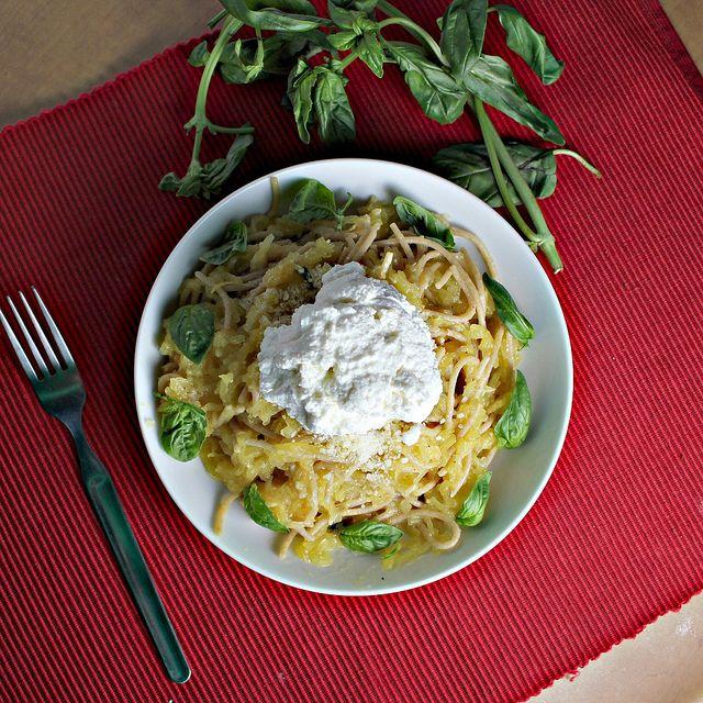 Spaghetti Squash with Lemon Garlic Sauce and Ricotta