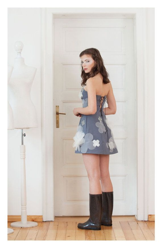 Strapless jurk Bustier jurk grijze jurk korte Sexy jurk