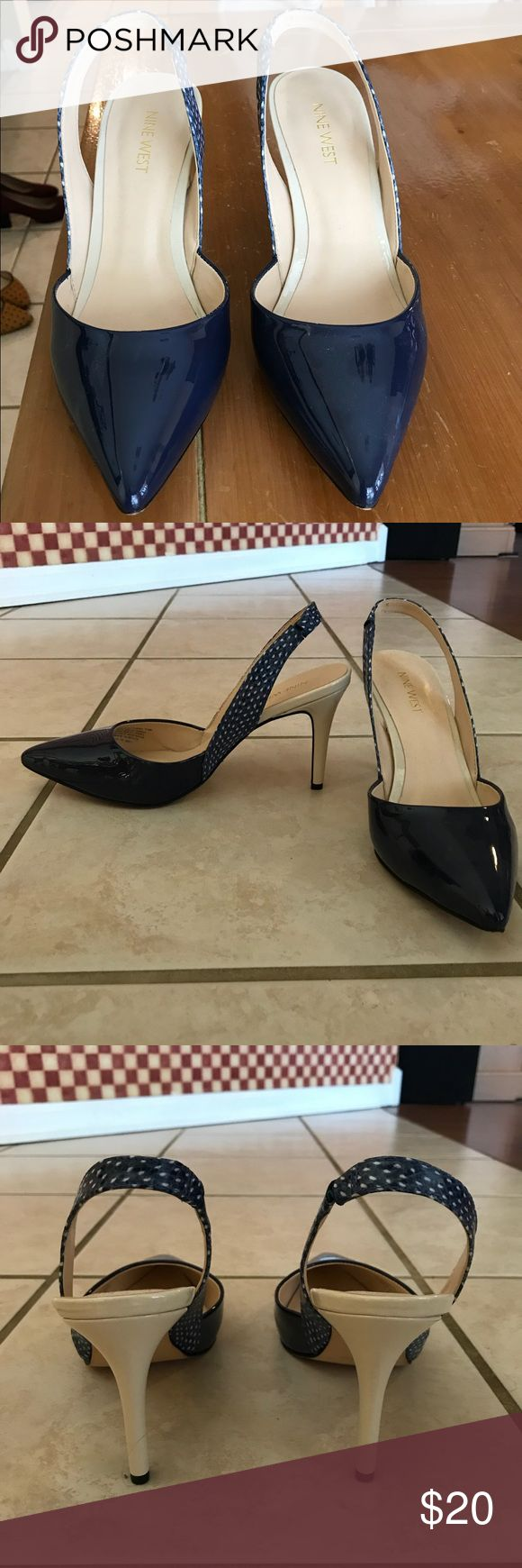 Pointed strappy heel 3.5 inch navy and white strappy heel. Only been worn once. Nine West Shoes Heels