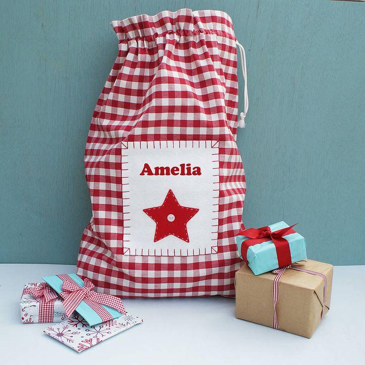 Personalised Gingham Christmas Sack