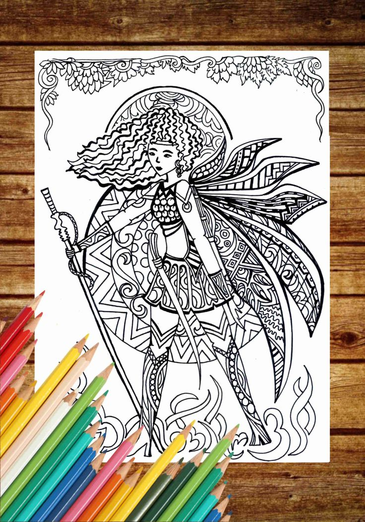 Fantasy Coloring Page Fairy Book Pages Printable Adult Art Therapy