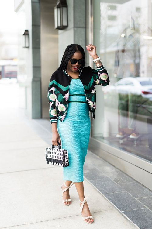 PHOTOS BY AMBER GOSSETT   GET A COPY OF THE SPRING/SUMMER STYLE GUIDE ( HERE)   DRESS: FUNKE ADEPOJU ALSO LOVE THIS OPTION (HERE) | BOMBER JACKET SOLD OUT,  LOVE THIS OPTION ON SALE (HERE) AND (HERE)| BEIGE SANDALS | BLACK AND  WHITE BAG: LISA FOLAWIYO | WATCH: MICHELE,