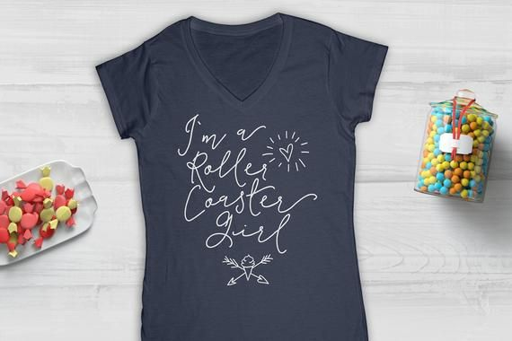 I M A Roller Coaster Girl Shirt V Neck Shirt Tank Top Gift For Female Rollercaoster Enthusiasts Cute Handwritten Design Shirts For Girls Roller Coaster Colorful Shirts