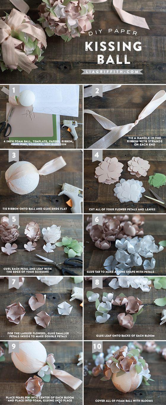 DIY Paper Kissing Ball Tutorial