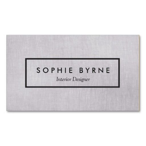 Simple Gray Linen LOOK Interior Designer Business Cards