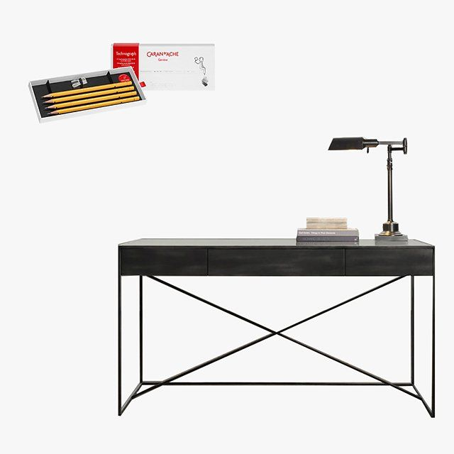 Caran d'Ache Technograph Pencils 100-Year Edition four-pack, $32, pencils.com; Gramercy mirrored desk, $971, restorationhardware.com
