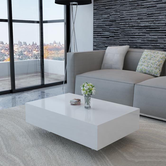 TABLE BASSE Table basse rectangulaire laquée haute brillance Blanc 85 cm MDF