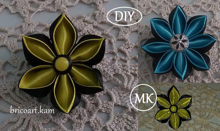 DIY for Girls/How to/Kanzashi flower Tutorial/Ribbon flower/Flor de cint...