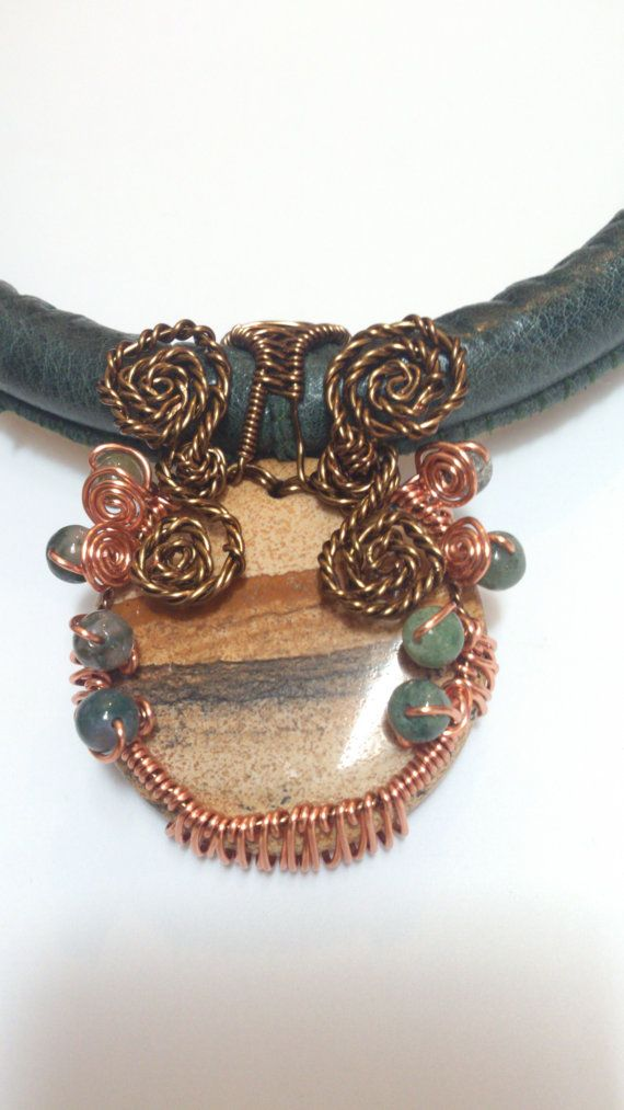 Natural Agate Wire Weave Leather Necklace Choker by Solace Designs, £80.00