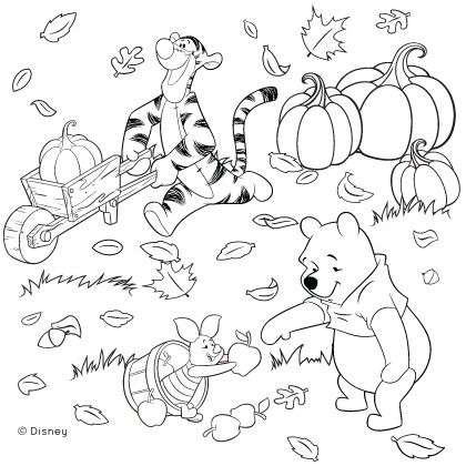 Winnie the Pooh and Friends Fall Coloring Page | Disney Family