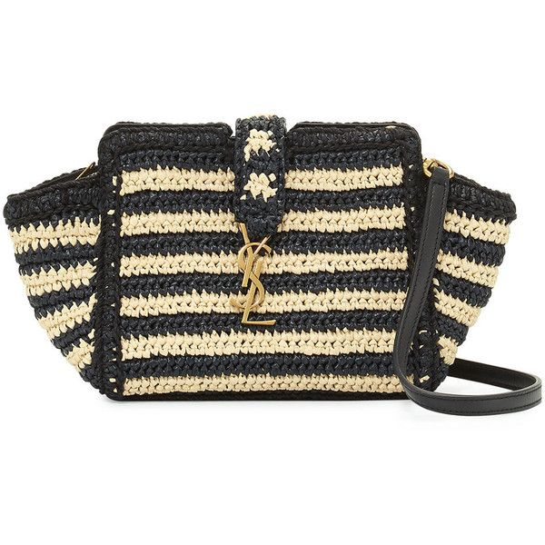 Saint Laurent Striped Raffia Small Cabas Crossbody Bag ($1,290) ❤ liked on Polyvore featuring bags, handbags, shoulder bags, neutral, striped purse, raffia handbags, crossbody shoulder bag, yves saint laurent and raffia purse