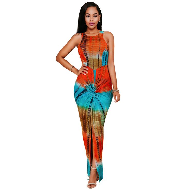 Tye Dye Fashion Womens Printed Long Party Dress Sleeveless High Slit