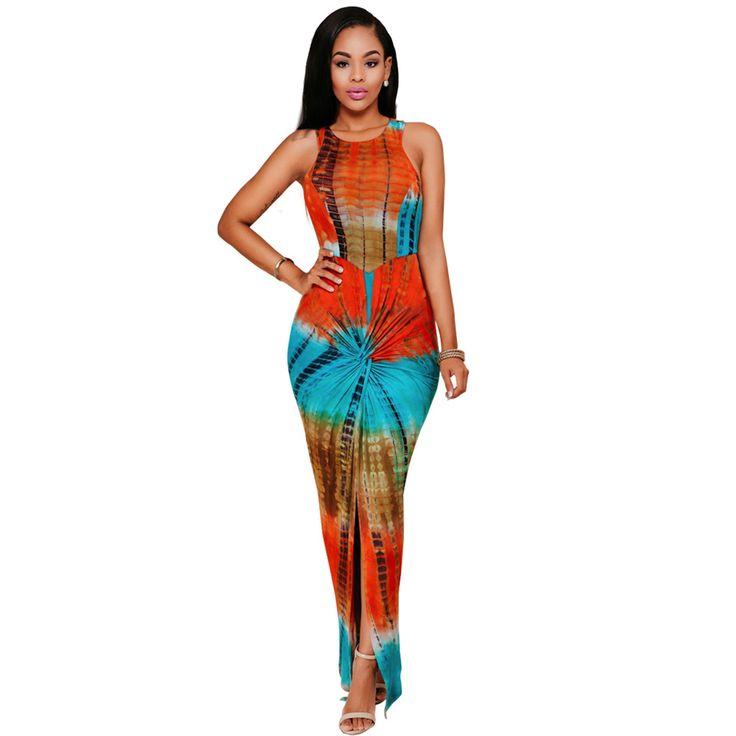 Tye Dye Fashion Womens Printed Long Party Dress Sleeveless High Slit