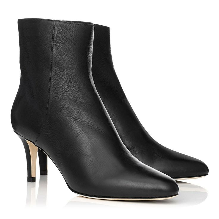 Jimmy Choo - Brody - 247brodygrc - Black Grainy Calf Leather Round Toe Ankle Boots